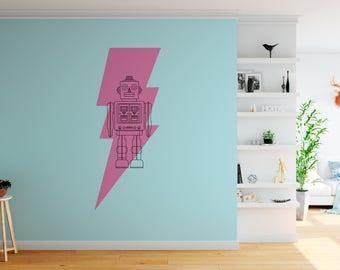 Retro Robot Line Art with Lightening Bolt - Vinyl Wall Art Series