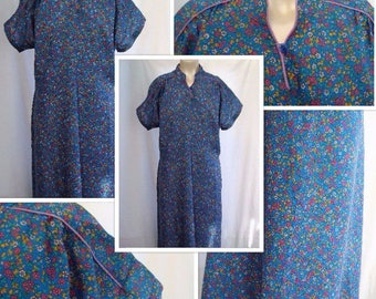 80's Floral Tea Dress with Chinese Collar (M/L)