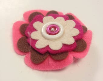 Pink, white, and brown flower bow clip