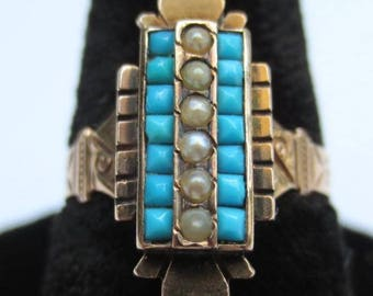 Victorian Turquoise & Pearl 14k Gold Ring