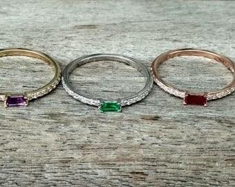 Natural Ruby Ring , 14k Real Gold Ring,Natural Amethyst Diamond Ring , Natural Emerald Diamond Ring