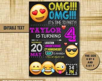 Emoji Invitation Emoji Birthday Emoji Birthday Invitation Emoji PDF editable text Emoji Party Emoji Birthday Invitation Emoji
