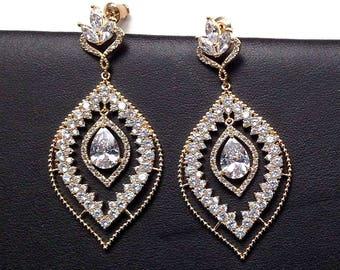 Bridal Statement Earrings, Large Earrings for Bride, Gold, Silver or Rose Gold Bridal Earrings, Prom Dangle Earrings, Wedding Earrings