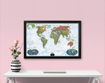Detailed World Map Poster (Non-Framed) - Executive World Map - Personalized Gift for Couple -Adventure Traveler Gift -Free Shipping - FedEx