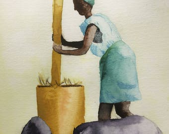 African woman making bread