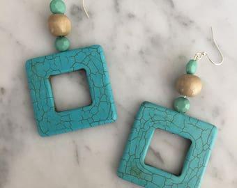 Turquoise Beaded Square Dangle Earrings