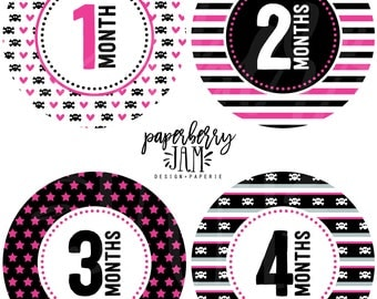 Baby Girl Rock Monthly Baby Stickers // Month to Month Stickers // For First Year Milestones // Onesie Stickers