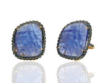 Diamond Ring with Tanzanite