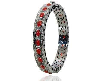 Diamond Bangle with Red Onyx