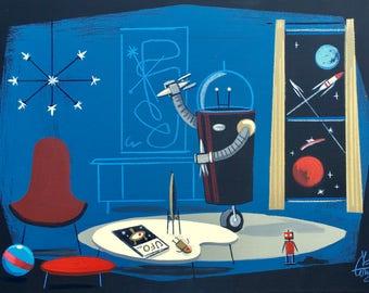El Gato Gomez Sci Fi Space Robot Toy Art Print