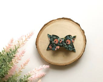 Vintage Floral Bow, Navy Floral Bow, Chunky Bow