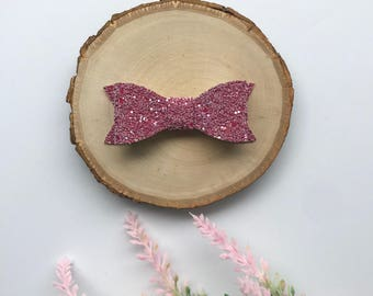 Mauve Glitter Bow, Pink GlitterBow, Glitter Bow