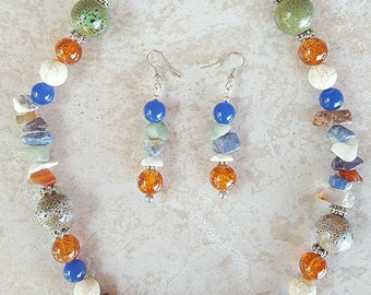 Natural Toned Stone Beaded Necklace and Earring Set