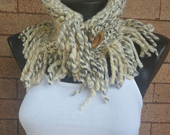 Mixed Gray Knitted Neck Cowl