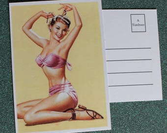 Gorgeous vintage pinup on vacation postcard.