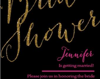 PINK+FRENCH Black Noir Princess Glitter Glam Wedding and Bridal Shower Invitation FREE shipping - 014
