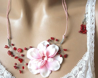 Pink ornament flower red coral and seed beads