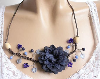 Dark blue Peony fabric Flower necklace