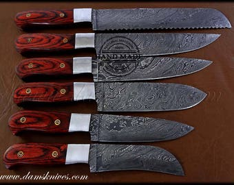 6 Pcs Custom Handmade Damascus Steel Santoku Knife Chef Knife Set