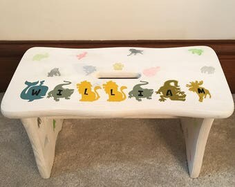 Personalised childrens stool solid pine