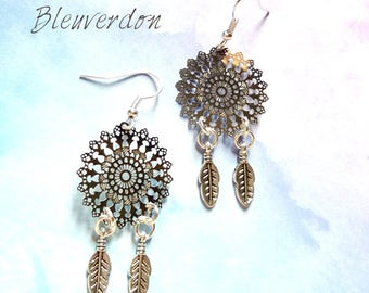 Rose dream catcher earrings