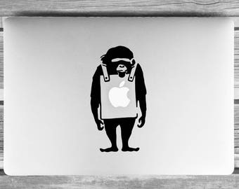 Banksy style Laptop sticker, Laptop decal, mac laptop sticker, mac skin, laptop skin, Monkey sticker, Macbook skin