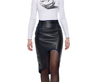 Real leather skirt, knee long