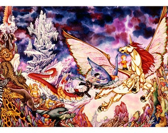 Flight From The Frozen Dragon Archival Quality Print of Watercolour Painting, Fantasy Illustration, Pegasus, Winged Horse