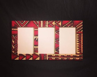 Hand Painted Hawaiian Tribal Print Frame for 4x6 Photos