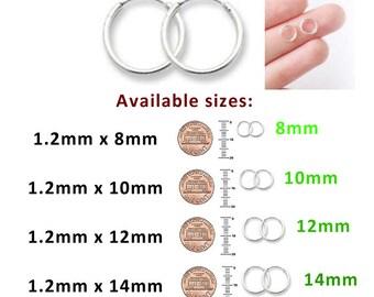 Adorable Plain Mini Hoop Earrings Sterling Silver 925 1.2mm x 8mm 10mm 12mm 14mm 16mm Single Or Pair
