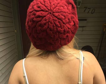 Cherry Cabled Beret