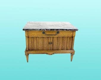 Mid-Century Marble Top Side Table - Nightstands -Vintage -Mid-century