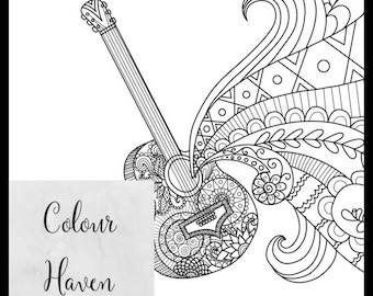 Guitar coloring page Etsy