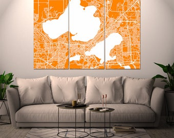 Madison Wisconsin, City Map, Canvas Print, Wall Art, Multi panel