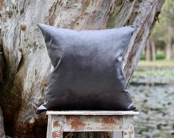 Dark grey velvet and linen cushion