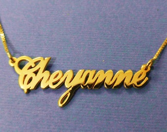 18k gold plated name necklace gold plated necklace name gold plated Cheyanne necklace nameplate necklace custom name single name necklace