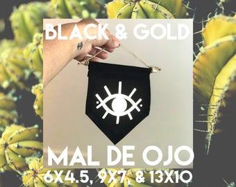 Mal de Ojo Evil Eye Hanging Wall Flag Banner Black & Metallic Gold