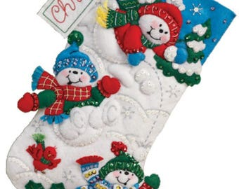 "Pre-order 2018 Finished Bucilla Fun in the Snow 16"" Christmas stocking"