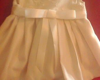 Ivory beaded mesh lace fabric christening or special occasion baby dress