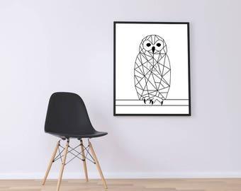 Geometric owl printed canvas (black/white)