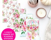 Hot Air Balloon Florals 5-Piece Tabbed Set of Planner Dividers for Personal A5 Planner Dashboard