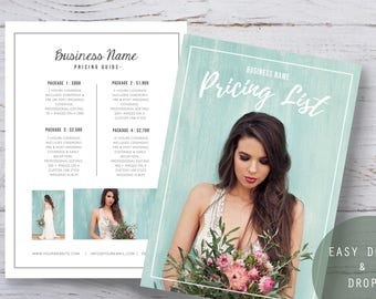 Photography Pricing Template - Price Guide for Photographers - Pricing List for Wedding Photographers - Photographer price list guide