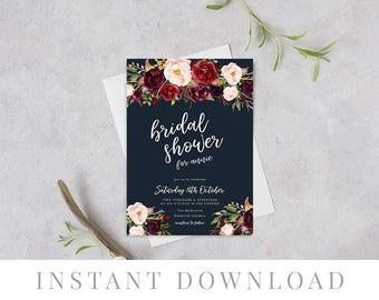 Navy Bridal Shower Invitation INSTANT DOWNLOAD, Hens Night Invite, DIY Printable, Templett, Editable, Rustic Invites, Watercolor, Marsala