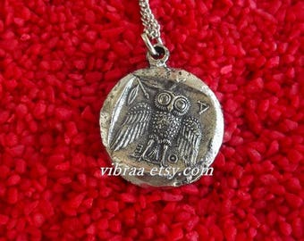Greek Owl & Goddess Athena Reversible Coin Necklace Pendant