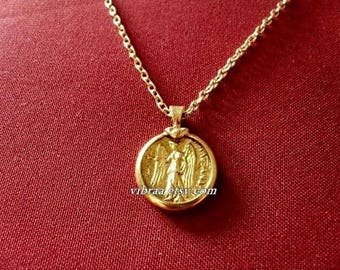 Goddess Athena & Nike The Goddess of Victory Roman Victoria Ancient Coin Necklace Pendant