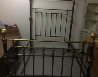 Antique brass and steel bed