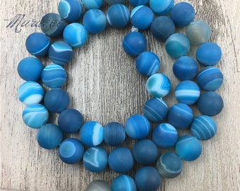 Wholesale Frosted Magic Blue Stripe Lace Agate Beads,Matte Round Banded Agate Drilled Beads for Jewelry Making, MB1708049