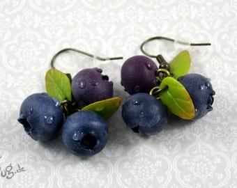 Blue Berry Earrings: handmade blueberries/blueberry earrings, bronze, fruits, drops