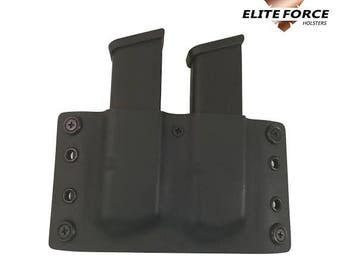 Glock 9MM/.40 Cal OWB Double Stacked Kydex Mag, Magazine Pouch Glock 17,19,22,23 (Right Handed)