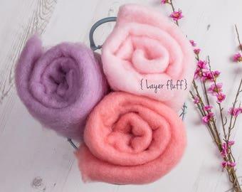 Spring Flowers Rustic Wool Layer Fluff, Newborn prop, basket stuff, blanket or wrap. Organic soft versatile look.
